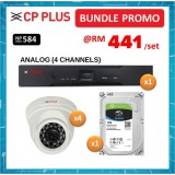 BUNDLE PROMO (ANALOG) - CP PLUS ASTRA DVR 1 SATA 1080P LITE 4CH + HD CAMERA 720P/1MP IR DOME 3.6MM + 1TB HDD