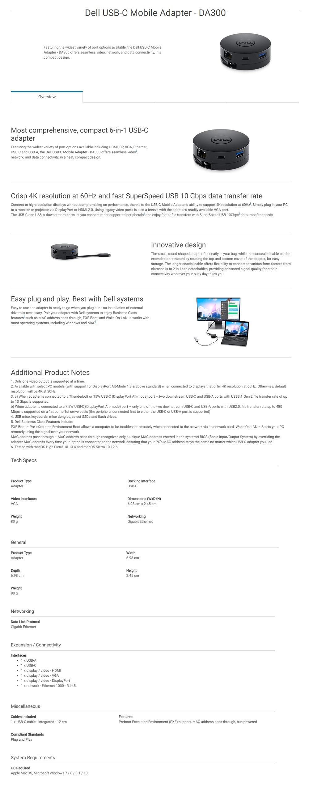 DELL/C  DELL DA300 USB-C MOBILE ADAPTER