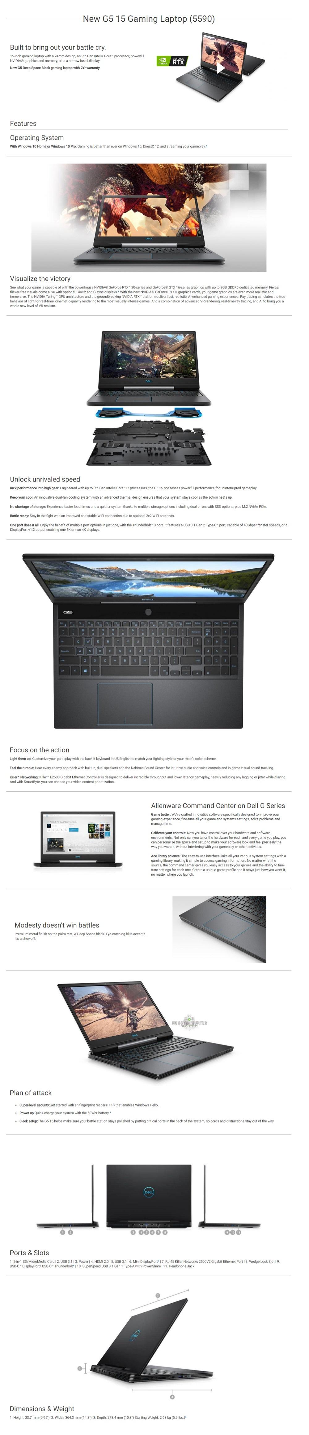 Ph Co Pc Depot Dell Gaming G5 5590 15 6 Intel Core I7 Laptop G597816g2060ssd